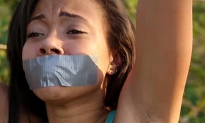 Punishteens - swarthy teen bound, punished and drilled in the forest