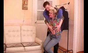 Full-grown granny tempts teenage boy