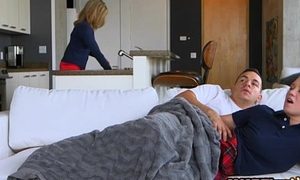 Stepmom and legal age teenager floozy astonishing 3some with excited boyfriend