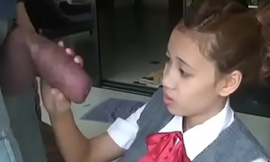 Oriental schoolgirl opens wide to suck huge horseshit
