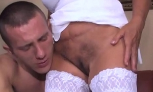 Granny Screames In Long While She Fucks Young Cock
