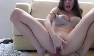 Teen brunette masturbates with vibrator in will not hear of ass